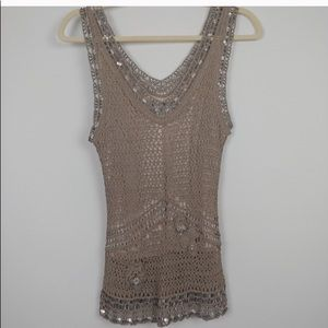 Sue Wong crochet knit beaded tank
